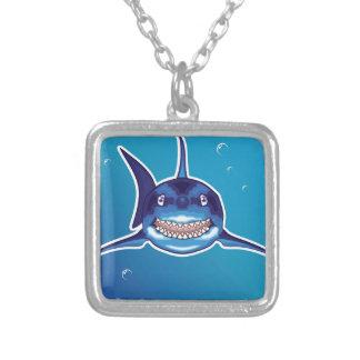 Dibujo animado del tiburón colgante cuadrado