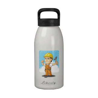Dibujo animado del trabajador de construcción indu botellas de agua reutilizables