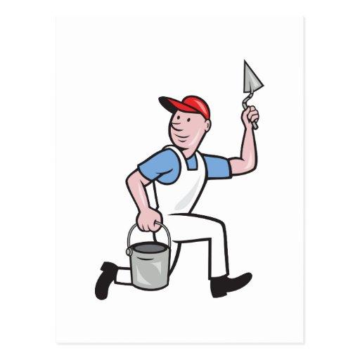 Dibujo animado del trabajador de la albañilería postal