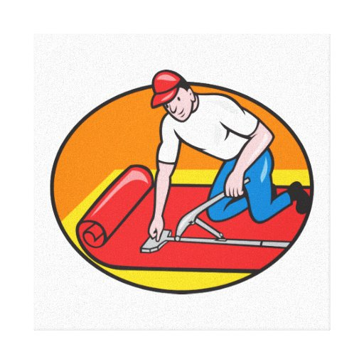 Dibujo animado del trabajador del ajustador de la  lienzo envuelto para galerías