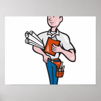 Dibujo animado del trabajador del ingeniero de con posters
