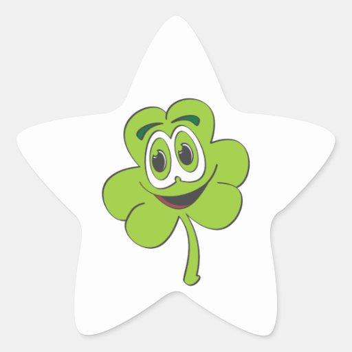 Dibujo animado del trébol de 3 hojas pegatina en forma de estrella