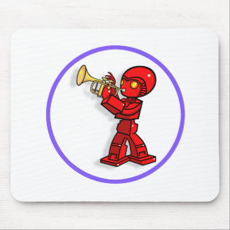 Dibujo animado del trompetista del robot.  tapetes de ratón