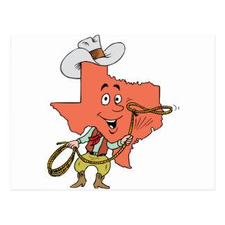 dibujo animado del vaquero de Tejas Postales