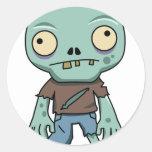Dibujo animado del zombi pegatina redonda