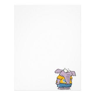 dibujo animado deportivo triste del elefante membrete personalizado