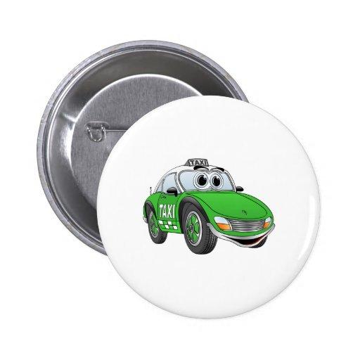 Dibujo animado deportivo verde del taxi pin redondo 5 cm