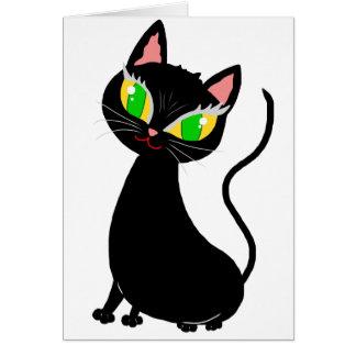 Dibujo animado despreocupado lindo del gato - rega tarjeta de felicitación