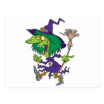 dibujo animado divertido de Halloween de la bruja  Postales