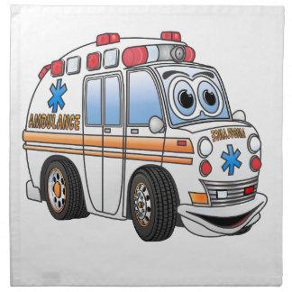 Dibujo animado divertido de la ambulancia servilleta imprimida