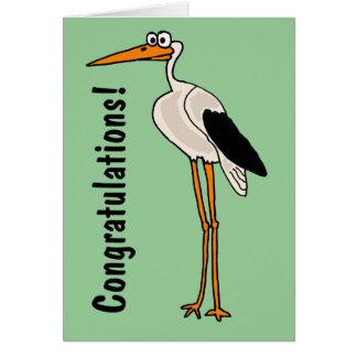 Dibujo animado divertido de la cigüeña de los CB Tarjeta De Felicitación