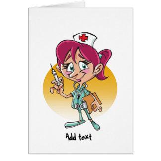 Dibujo animado divertido de la enfermera felicitación