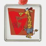 dibujo animado divertido de la jirafa de la pintad ornaments para arbol de navidad