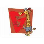 dibujo animado divertido de la jirafa de la pintad postales