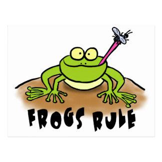 Dibujo animado divertido de la rana postal