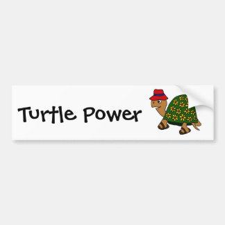 Dibujo animado divertido de la tortuga de la flor  etiqueta de parachoque