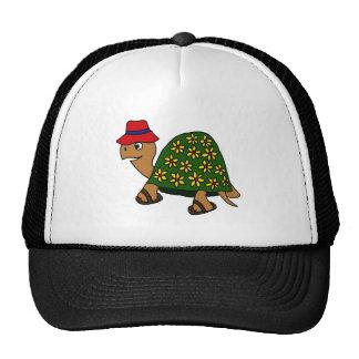 Dibujo animado divertido de la tortuga de la flor gorros