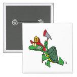 dibujo animado divertido de la tortuga del bombero pin