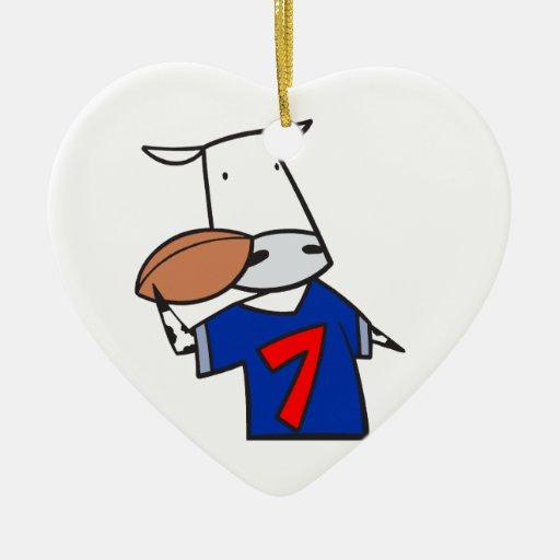 dibujo animado divertido de la vaca del fútbol adorno de cerámica en forma de corazón