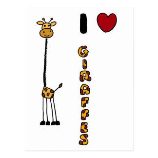Dibujo animado divertido de las jirafas del amor postales