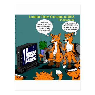 Dibujo animado divertido de las noticias conservad postales