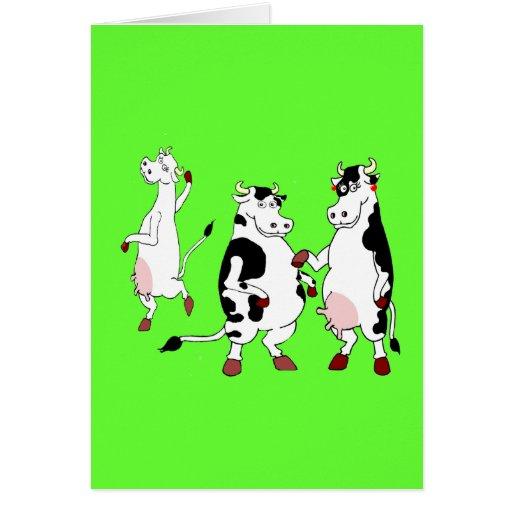 Dibujo animado divertido de las vacas tarjeton