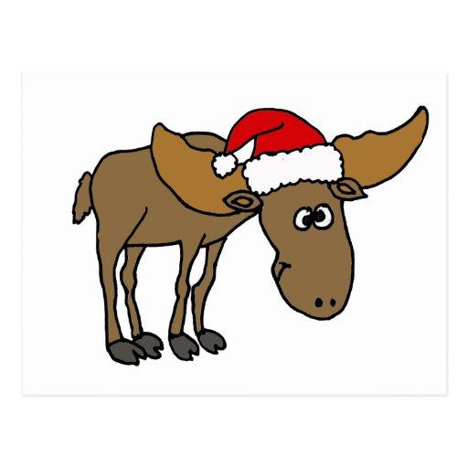 Dibujo animado divertido de los alces del navidad postales