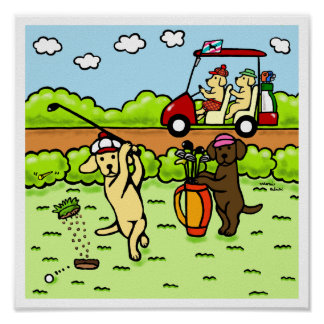 Dibujo animado divertido de los golfistas de Labra Póster