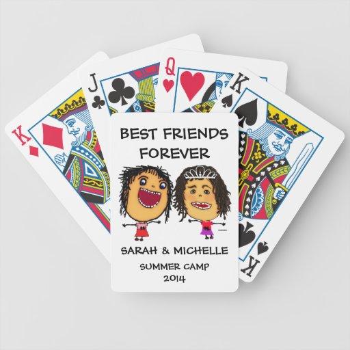 Dibujo animado divertido de los mejores amigos barajas de cartas