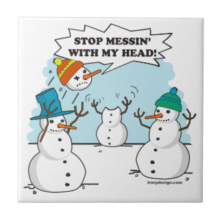 Dibujo animado divertido de los muñecos de nieve azulejo cuadrado pequeño