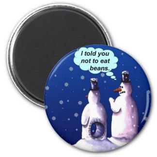 Dibujo animado divertido de los muñecos de nieve imán redondo 5 cm