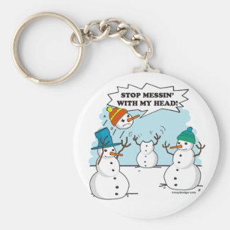 Dibujo animado divertido de los muñecos de nieve llavero redondo tipo chapa