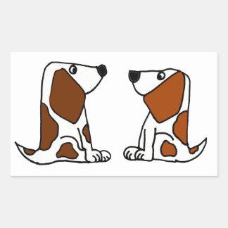Dibujo animado divertido de los perros de perrito pegatina rectangular