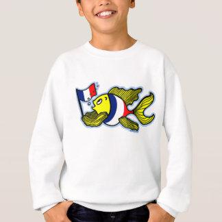 Dibujo animado divertido de los pescados franceses remera
