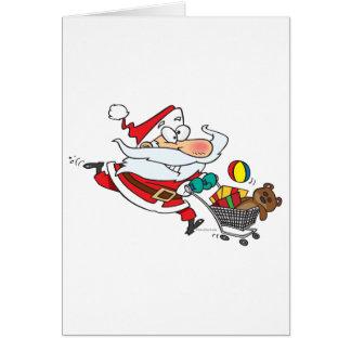 dibujo animado divertido de santa que hace compras tarjeta de felicitación
