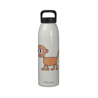 Dibujo animado divertido de un mono botellas de beber