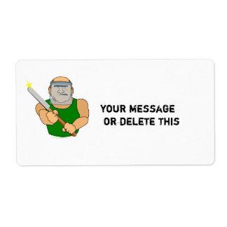 Dibujo animado divertido de UseScrapers Woodturnin Etiqueta De Envío