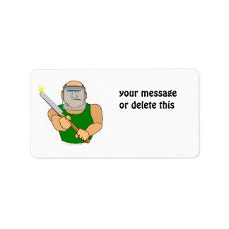Dibujo animado divertido de UseScrapers Woodturnin Etiquetas De Dirección
