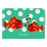 Dibujo animado divertido del amor del Goldfish Felicitación