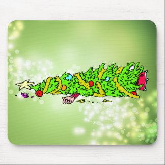Dibujo animado divertido del árbol de navidad tapetes de ratón