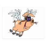 dibujo animado divertido del aviador del cerdo del