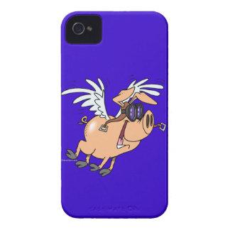 dibujo animado divertido del aviador del cerdo del Case-Mate iPhone 4 protector