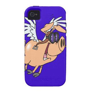 dibujo animado divertido del aviador del cerdo del Case-Mate iPhone 4 funda