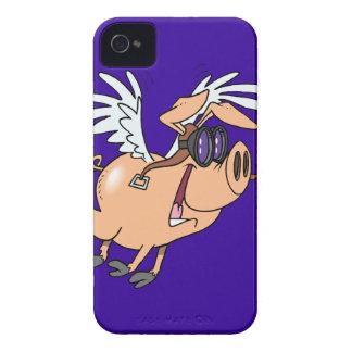 dibujo animado divertido del aviador del cerdo del Case-Mate iPhone 4 carcasa
