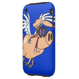 dibujo animado divertido del aviador del cerdo del iPhone 3 tough fundas
