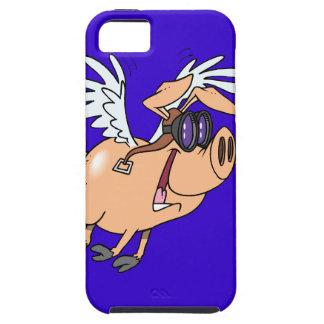 dibujo animado divertido del aviador del cerdo del iPhone 5 funda