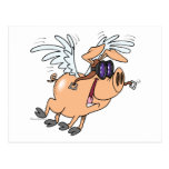 dibujo animado divertido del aviador del cerdo del postal