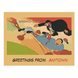 Dibujo animado divertido del béisbol con segurida postales