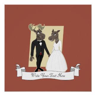Dibujo animado divertido del boda de los alces