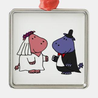 Dibujo animado divertido del boda de novia y del adorno cuadrado plateado
